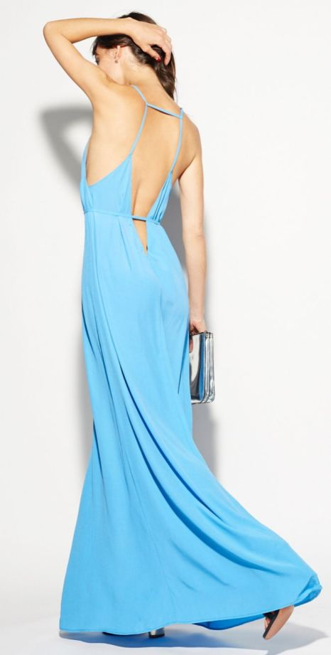 blue low back dress