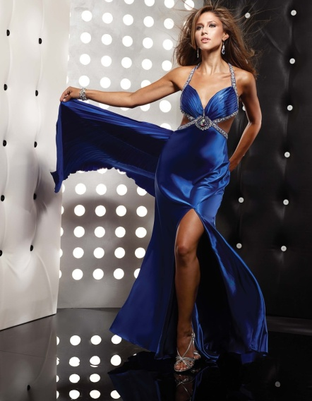 blue V-neck formal dress